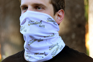 Tadich Grill neck scarf mask in white with logo